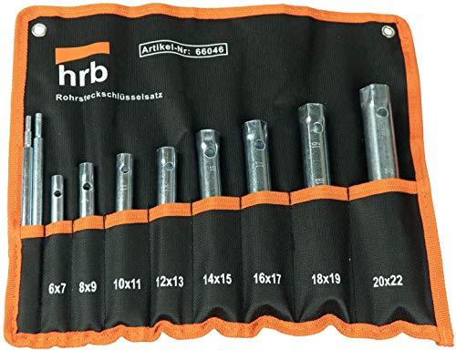 HRB Rohrsteckschlüsselsatz 10-tlg. Größen 6-22 mm, Schraubenschlüssel Satz in bequemer Tetron Rolltasche,...