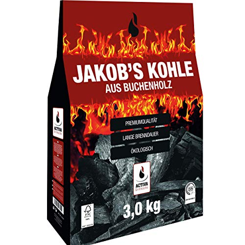ACTIVA 'Jakob´s Grillkohle 3 kg Buche Holzkohle Buchenholzkohle Grillholzkohle Steakhausqualität Steakhouse...