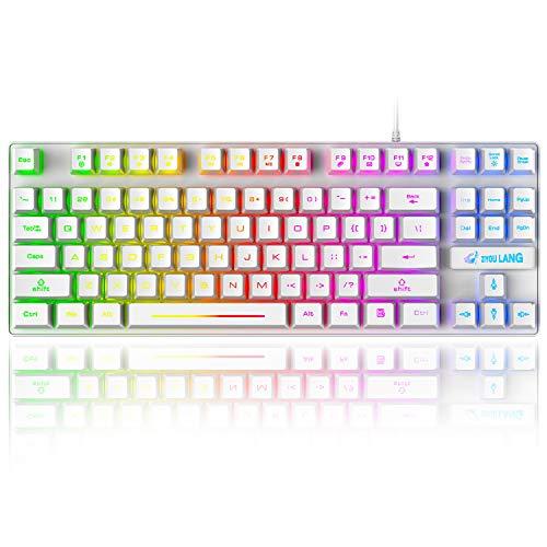 K16 Gaming-Tastatur, kabelgebunden, 87 Tasten, mechanische Haptik, Regenbogen, LED-Hintergrundbeleuchtung,...