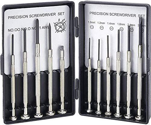 vendify® Schraubendreher Feinmechaniker Set, Mini Schraubendrehersatz 11 teilig, Uhrmacherwerkzeug...