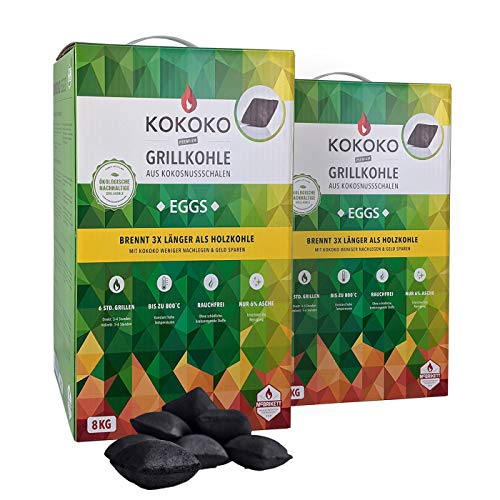 Set: 2 x 8 kg KOKOKO EGGS Premium Grillkohle, 16 kg Bio Kokos Grillbriketts
