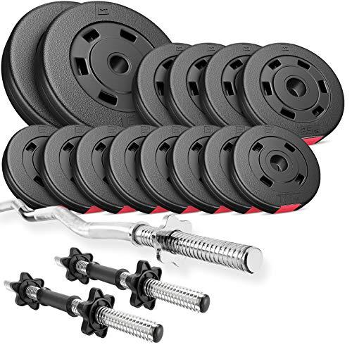Hop-Sport Hantelset 38,5 kg, 1x SZ Stange, 2X Kurzhanteln, Hantelscheiben 2x5kg/4x2,5kg/8x1,25kg