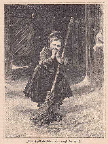 Kinder - 'Lieb Christkindlein, wie machst du kalt'. Frierendes Mädchen in schwälmer Tracht beim mit einem...