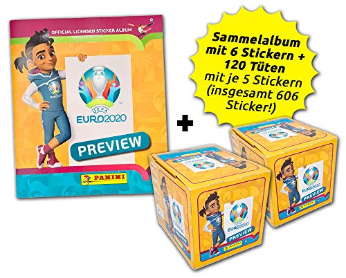 .Panini UEFA Euro 2020™ The Official Preview Collection - Sticker - International Collector's Bundle - 120...