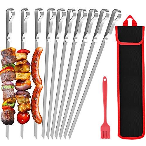 Grillspieße 10 Stück mit Nylontasche, 43 cm flacher Edelstahl-Grillspieß Vermeiden Sie Rostbildung,...