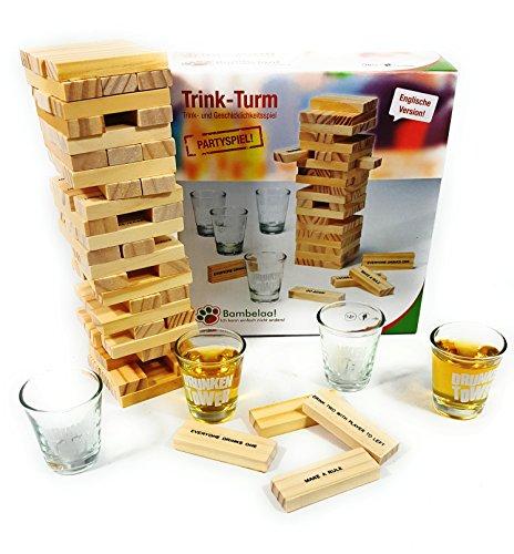 Bambelaa! Trinkspiel Partyspiel Wackelturm Drunken Tower inklusive Vier Trinkgläser ca. 4cl (Englische...