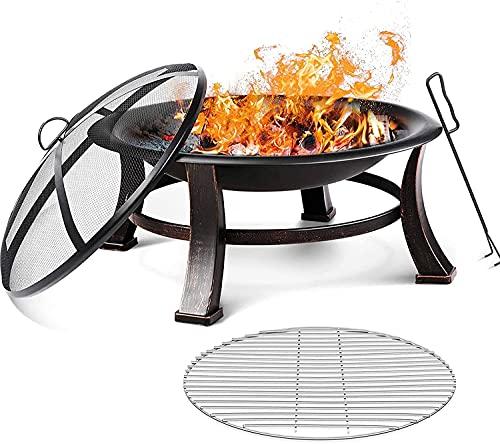 Feuerschale, 76x76x46cm, Feuerstelle Garten mit Grillrost, Schürhaken, wasserfester Schutzhülle &...
