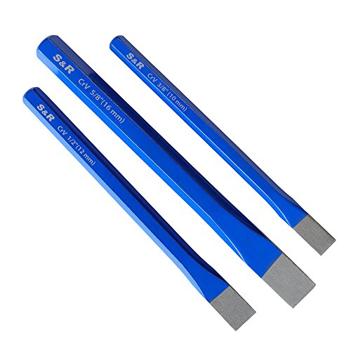 S&R Meiel, Handmeissel, 3-teiliges Set, aus Chrom-Vanadium Stahl, Flachmeiel geschmiedet und gehrtet