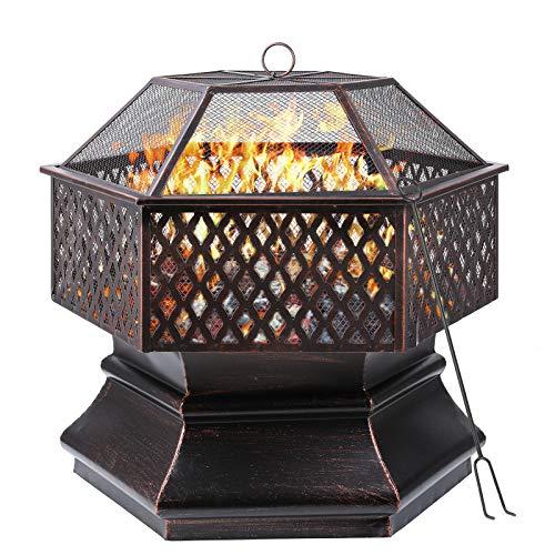 femor Feuerschale, 66x66x63cm, 26 '' Sechseckige Feuerstelle Garten, Feuerkorb mit Grillrost,...