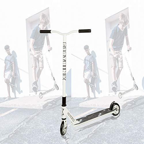 Clothink Stunt Scooter Weiß- High End Pro - Funscooter Stunt Roller mit ABEC 9,110 mm PU Räder, bis 100 kg,...