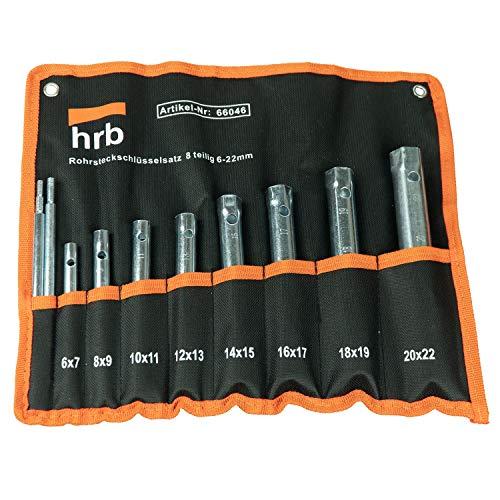 HRB Rohrsteckschlüsselsatz 9-tlg. Größen 6-22 mm, Schraubenschlüssel Satz in bequemer Tetron Rolltasche,...