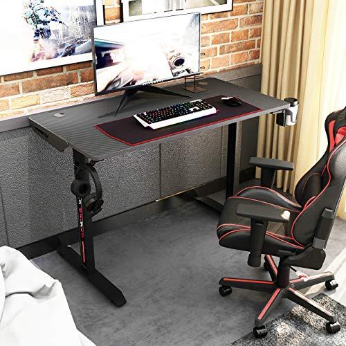 sogesfurniture Gaming Tisch Computertisch Gaming Schreibtisch, mit Mauspad, Getränkehalter, Kopfhörerhaken,...
