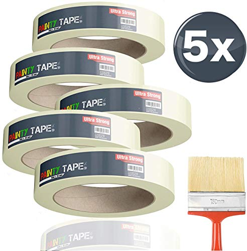 5x Malerkrepp 50 m * 38 mm / 250 Meter - Kreppband Klebeband Abklebeband Painty Tape für einfaches Streichen...