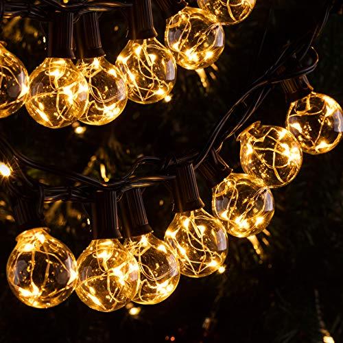 Quntis 11,7M IP65 LED Lichterkette Außen, 30er G40 Glühbirnen E12 Warmweiß+3 Ersatzglühlampe, 155 LEDs,...