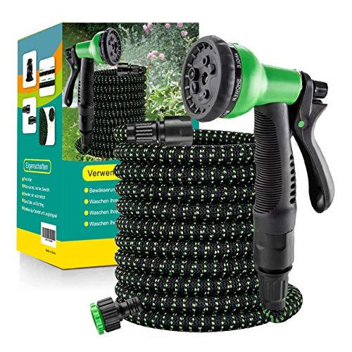 Flexibler Gartenschlauch Wasserschlauch Flexibel mit 8-Funktions-Düse Brause Adapter aus Plastik Aufhänger...