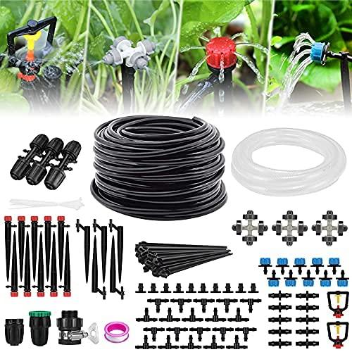 Garten Bewässerungssystem,40M+3M Schlauch Tröbewässerungssystem mit Einstellbar Sprinkler Sprühgerät und...
