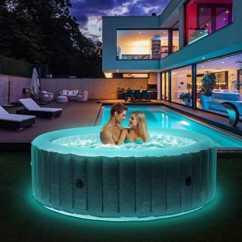 Miweba MSpa aufblasbarer Whirlpool 2021 Starry C-ST061 Outdoor - inkl. LED Band - 138 Düsen - 204 x 70 cm -...