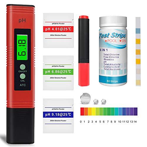 pH Messgerät, Pool Teststreifen x 50, Wassertester für Pool, Trinkwasser pH-Wert/Chlor/Alkalinität/Algizid...