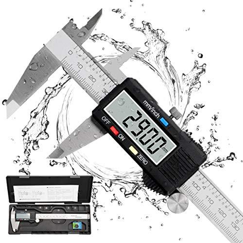 Messschieber Digital, Qfun Edelstahl Schieblehre Messwerkzeuge 150mm Spritzwasserdicht Staubdicht Schieblehre...