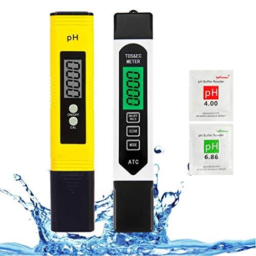 pH Messgerät und TDS EC Wert Messgerät Set, mit LCD anzeige Wasserqualitätstest Messgerät, tragbares...
