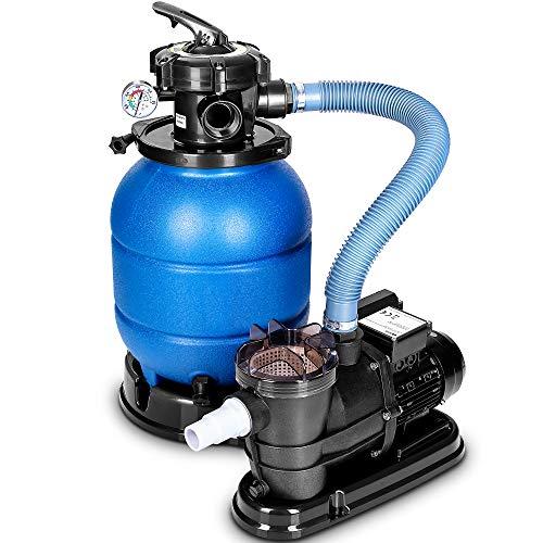tillvex Sandfilteranlage 10 m³/h - Filteranlage 5-Wege Ventil | Poolfilter mit Druckanzeige | Sandfilter für...
