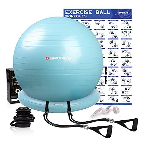Sporus Gymnastikball mit Ballschale, Anti-Burst Fitnessball 65 cm Stuhl System und Widerstandsbändern, für...