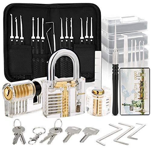 Dietrich Set, 30 Stück Lock Picking Set mit 3 Transparenttem Vorhängeschloss Dietrichen Kit für Anfänger...