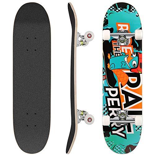 WeSkate Skateboard Komplett Board 79x20cm Holzboard ABEC-7 Kugellager 31 Zoll 7-lagigem Ahornholz, 93A Rollen...