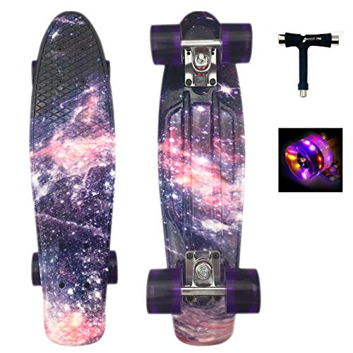 Sumeber Skateboard Kinder Mini Cruiser Skateboard Komplette 22 Zoll mit LED Leuchtrollen Skateboard für...
