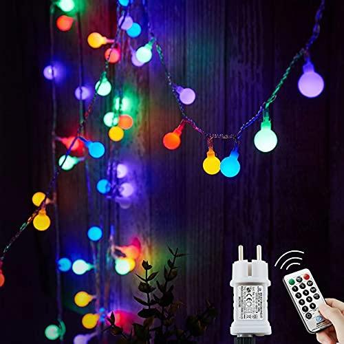 Lichterkette Außen bunt Glühbirnen, 15M 120 LED mit 31V Transformator, 8 Modi Weihnachten Lichterketten für...