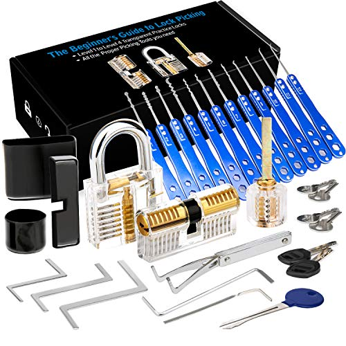 Luxebell Lock Picking, 33 PCs Dietrich Set mit 3 transparenten Übungsschlössern bieten 4...