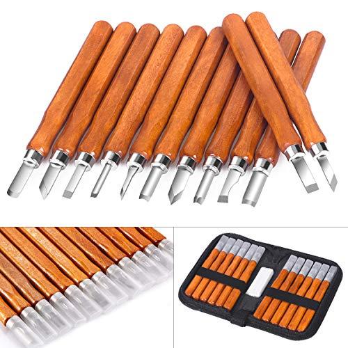 Holz-Schnitzwerkzeug Set, SanGlory 12 stück Holz-Schnitzmesser mit Schleifsteine, Professional...