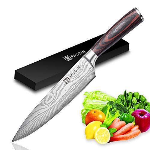 PAUDIN Kochmesser Küchenmesser 20cm Profi Messer Chefmesser Allzweckmesser aus hochwertigem Carbon Edelstahl,...