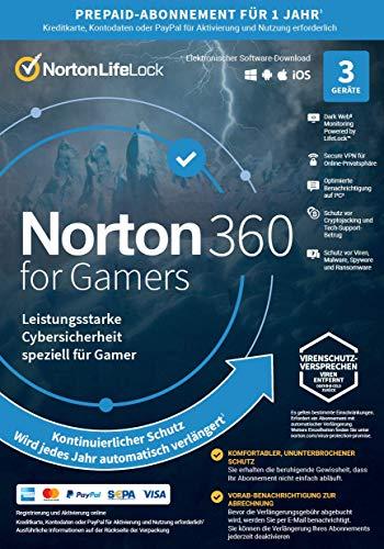 Norton 360 for Gamers 2021 | 3 Geräte | Cybersicherheit für PC-Gamer | 1-Jahres-Abonnement mit automatischer...