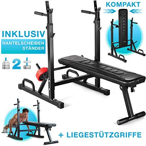 Sportstech Innovative 21in1 Hantelbank mit Hantelscheibenstnder & Liegesttzgriffe, intelligentes Faltsystem,...