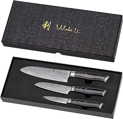 Wakoli Mikata Damastmesser Profi Set, sehr hochwertige Japanische Kochmesser, rasiermesserscharfe Klinge, 3...