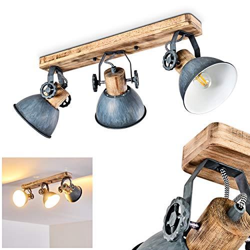 Deckenleuchte Orny, Deckenlampe aus Metall/Holz in Grau/Wei/Braun, 3-flammig, mit verstellbaren Strahlern, 3 x...