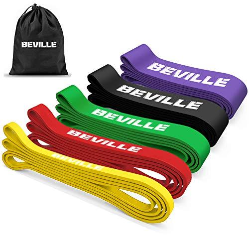 Fitnessband Widerstandsband Set,BEVILLE 5 Sätze Resistance Bänder für Freeletics, Calisthenics,...