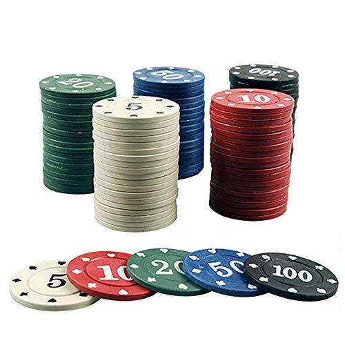 Happt Pokerchips Set - Jetons Poker, 100 STCKE Poker Chips Transparent Kunststoff Boxed Mit Digital Chips...