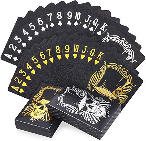 Joyoldelf 2 Coole Schwarze Spielkarten Plastik, wasserdichte Skelett-Design Pokerkarten (mit Schachtel), Für...