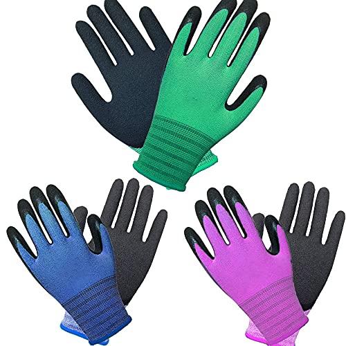 3 Paare Mehrfarbig Männer und Frauen Gartenhandschuh Superior-Grip Arbeitshandschuh Multi für regelmäßigen...