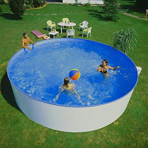 Planet Pool: Stahlwandpool Rundbecken 360 x 84 cm | rund, freistehend & weiß | Swimmingpool groß für den...