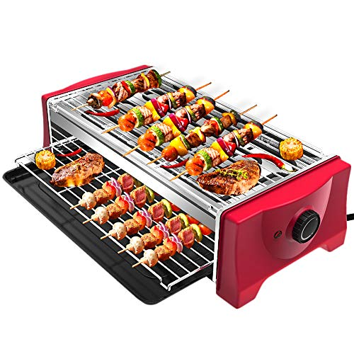 Tischgrill Elektrisch Barbecue - Rauchfreier Elektrogrill 2000W Elektro Tischgrill Grills Standgrill für...