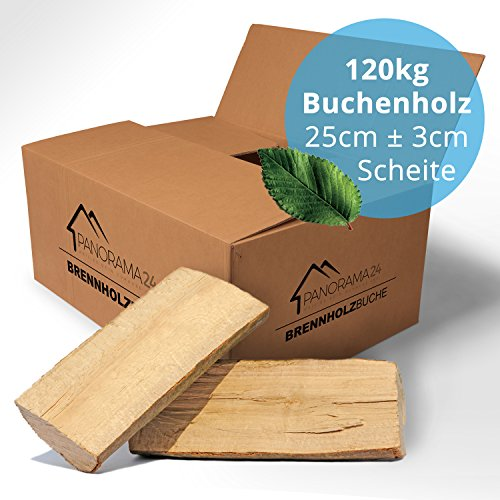 Panorama24 120 kg Brennholz Kaminholz Feuerholz Reine Buche ofenfertig kammergetrocknet in 25cm