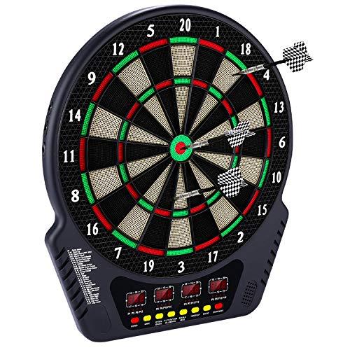 Elektronische Dartscheibe Dardboard mit 4 LCD-Anzeige, 6 Dartpfeilen| 27 Spiele mit 243 Spieloptionen Profi...