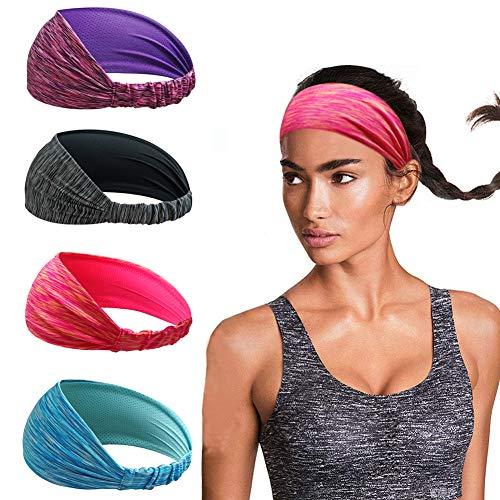 Linlook Damen Sport Stirnband - 4 Stück Breit Schweißband Stirn für Yoga Laufen Workout Training Fitness...