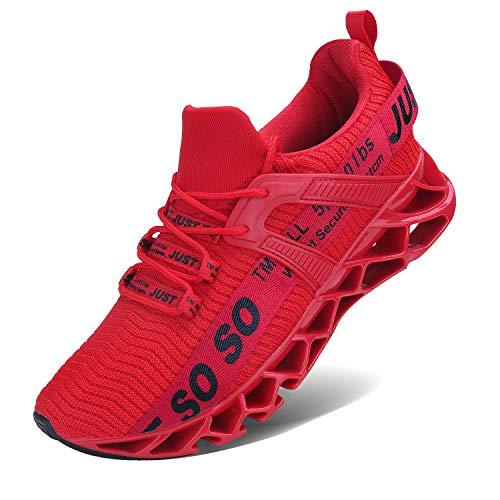 JSLEAP Laufende Tennisschuhe der athletischen gehenden Klingen der Männer Mode-Turnschuhe (2 Rot,Größe 43...