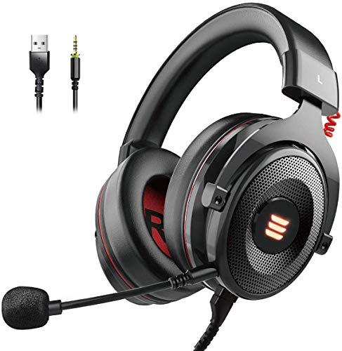 EKSA Gaming Headset PS4/XBox One, Virtual 7.1 & 3,5mm Surround Sound 2 in1 Kabelgebundenes Over-Ear Gaming...