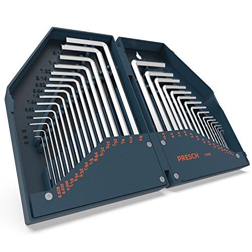 Presch Innensechskant Satz HX 30 tlg. Metrisch und Zoll - Innensechskantschlüssel Set kompakt mit Box -...