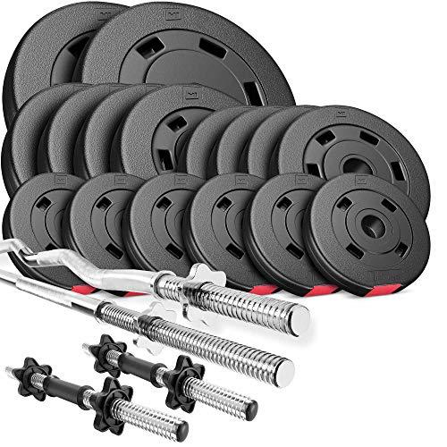 Hop-Sport Hantelset 75 kg 1x Langhantel-Stange, 1x SZ Curl-Stange, 2X Kurzhanteln, Gewichte 2x10kg / 4x5kg /...